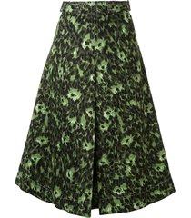 marni camouflage print a-line skirt - green