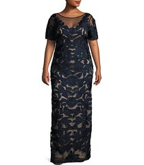 plus floral soutache illusion gown