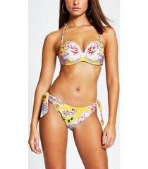 river island womens yellow printed high tie leg bikini bottoms