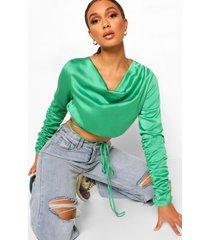 satijnen wikkel blouse met waterval hals en bandjes, emerald
