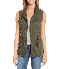 women's caslon utility vest, size small - green