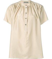 alberta ferretti flared button blouse - neutrals