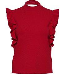 colorblock ruffle crop knit blus ärmlös röd karl lagerfeld