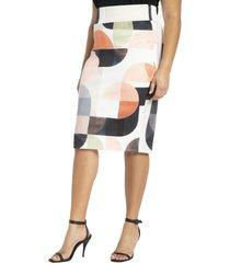 plus size women's eloquii geo print skirt, size 24w - white