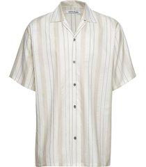 carter shirt - multistripe overhemd met korte mouwen crème martin asbjørn