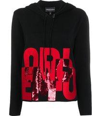 emporio armani sequin logo hoodie - black