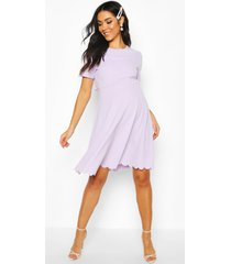 maternity double layer scallop skater dress, lilac