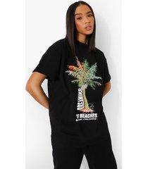 long line palm print t-shirt