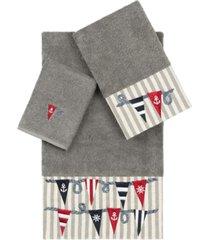 linum home 100% turkish cotton ethan 3-pc. embellished towel set bedding