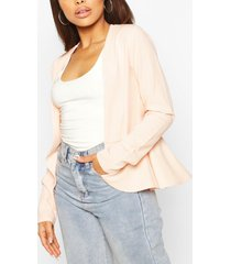 crêpe edge to edge peplum blazer, blush