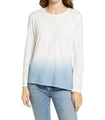 women's caslon dip dye asymmetrical shirt, size medium - blue