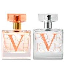 conjunto perfume v pour elle 100ml e perfume v pour le jour 100ml