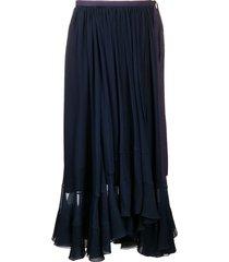 chloé bow detail ruffled skirt - blue