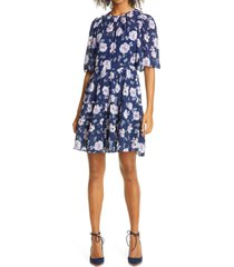 women's rebecca taylor peony bloom fit & flare dress, size medium - blue