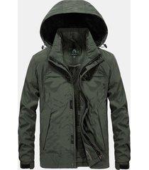 mens plus dimensioni antivento traspirante addensare pile multi tasche con cappuccio giacca calda