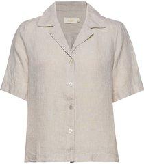 donna linen shirt overhemd met korte mouwen crème morris lady