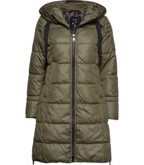coat not wool gevoerde lange jas groen taifun