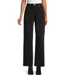 rag & bone women's corduroy wide-leg jeans - black - size 24 (0)