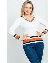 sweater cuello v con franja blanco 609 seisceronueve