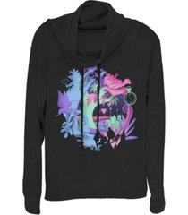 fifth sun women's alice in wonderland chaos wonderland fleece cowl neck sweatshirt