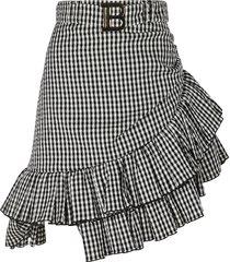 balmain asymmetric ruffle trim checked skirt