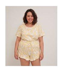 conjunto de pijama estampado blusa manga curta e short curve e plus size branco