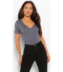basic super soft v neck t-shirt, slate grey
