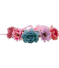 acessório le briju tiara headband com flores único aster lara multicolorido