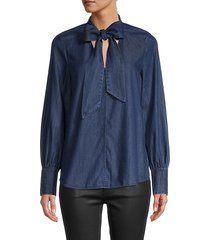 tie-neck denim shirt