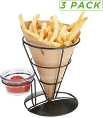 mind reader 3 pack french fry cone holder with condiment storage