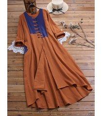 camicetta asimmetrica manica lunga asimmetrica patchwork pulsante rana vintage