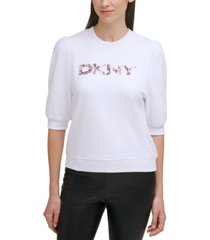 dkny puff-sleeve logo top