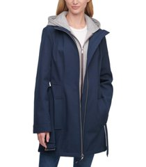 tommy hilfiger hoodie-lined belted raincoat