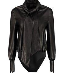 pinko adamo faux leather bodysuit-blouse