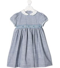 siola embroidered peter pan collar dress - blue