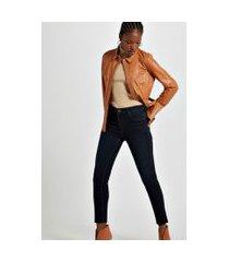 calça jeans skinny basic midi jeans escuro - 44