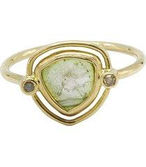 diamond watermelon tourmaline 18k gold ring