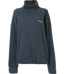 we11done logo stitched turtleneck sweatshirt - blue