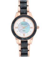 anne klein women's considered solar-powered rose gold-tone & navy blue resin bracelet watch 34mm