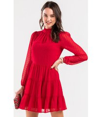 angelica tiered swiss dot mini dress - red
