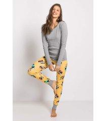 pijama manga longa acuo pijama manga longa amarelo