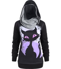 plus size halloween cat 3d print convertible hoodie