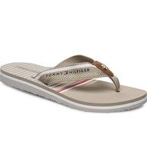 stripy flat beach sandal flip flops sandaler beige tommy hilfiger