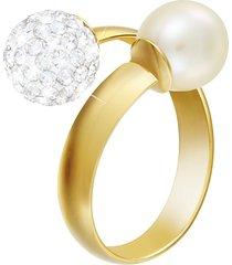 anello in oro bianco 18 kt, perla e cristalli per donna
