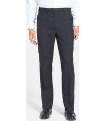 men's berle self sizer waist plain weave flat front washable trousers, size 33 x - black