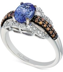 le vian chocolatier tanzanite (1 ct. t.w.) and diamond (3/8 ct. t.w.) ring in 14k white gold