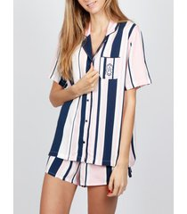 pyjama's / nachthemden admas pyjama shirt korte pyjama summer stripes marineblauwe adma's