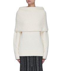 foldover textured alpaca merino wool blend sweater
