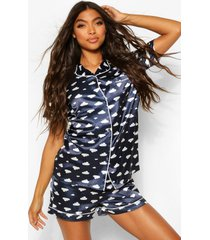 tall cloud print satin pyjama shorts set, navy