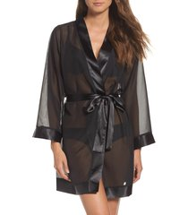 women's bluebella chiffon & satin robe, size large - black